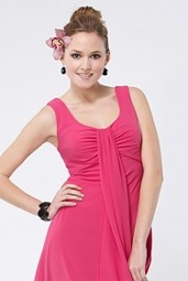 Satin Chiffon Prom Dress Simple
